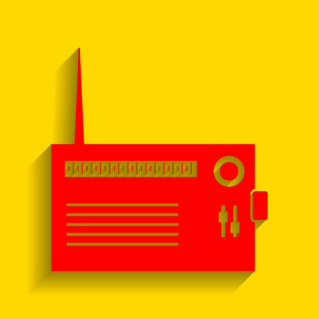 fm: Radio sign illustration. Vector. Red icon with soft shadow on golden background.