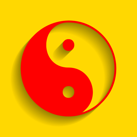tao: Ying yang symbol of harmony and balance. Vector. Red icon with soft shadow on golden background. Illustration