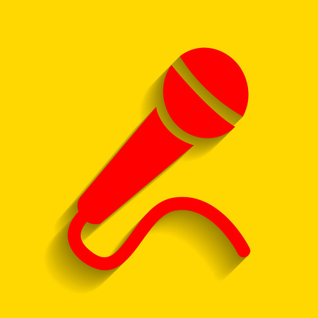 amplification: Microphone sign illustration. Vector. Red icon with soft shadow on golden background.