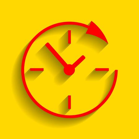 Service en ondersteuning voor klanten 24 uur per dag en 24 uur. Vector. Rood pictogram met zachte schaduw op gouden achtergrond.