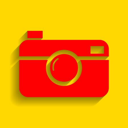 Digital photo camera sign. Vector. Red icon with soft shadow on golden background. Illustration