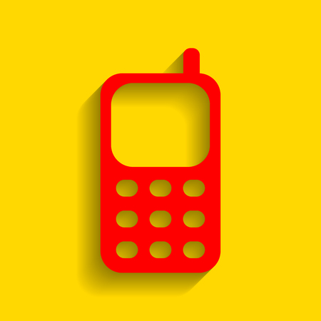 Cell Phone sign. Vector. Red icon with soft shadow on golden background.