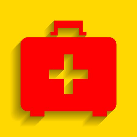 firstaid: Medical First aid box sign. Vector. Red icon with soft shadow on golden background.