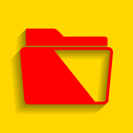 Folder sign illustration. Vector. Red icon with soft shadow on golden background.