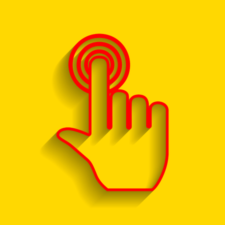 Hand click on button. Vector. Red icon with soft shadow on golden background.