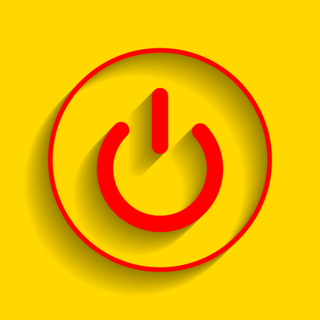 On Off switch sign. Vector. Red icon with soft shadow on golden background.
