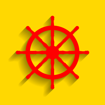 command: Ship wheel sign. Vector. Red icon with soft shadow on golden background.
