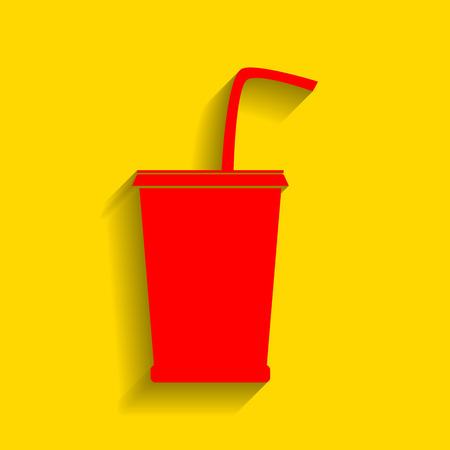 Drink sign illustration. Vector. Red icon with soft shadow on golden background. Illustration