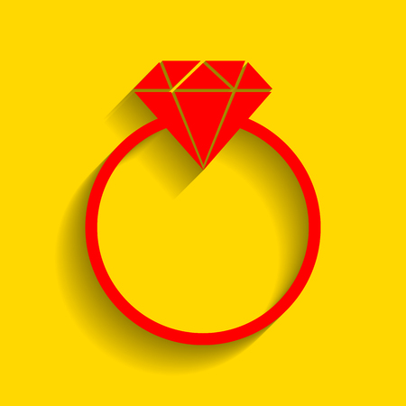 Diamond sign illustration. Vector. Red icon with soft shadow on golden background. Illustration