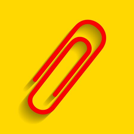 Clip sign illustration. Vector. Red icon with soft shadow on golden background. Illustration