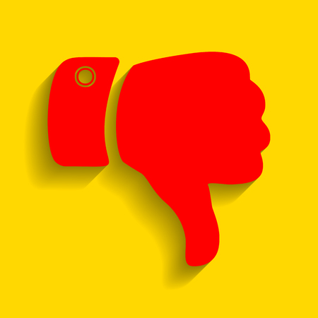 disapprove: Hand sign illustration. Vector. Red icon with soft shadow on golden background.