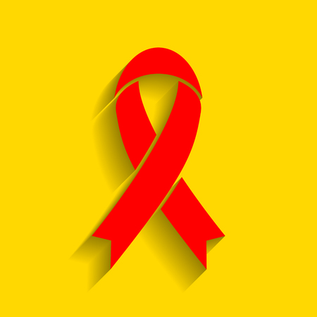 Black awareness ribbon sign. Vector. Red icon with soft shadow on golden background. Illustration