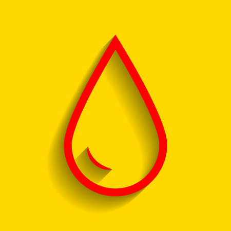 Drop of water sign. Vector. Red icon with soft shadow on golden background.