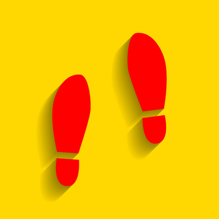 shoeprint: Imprint soles shoes sign. Vector. Red icon with soft shadow on golden background.