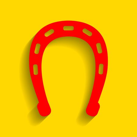 talisman: Horseshoe sign illustration. Vector. Red icon with soft shadow on golden background.