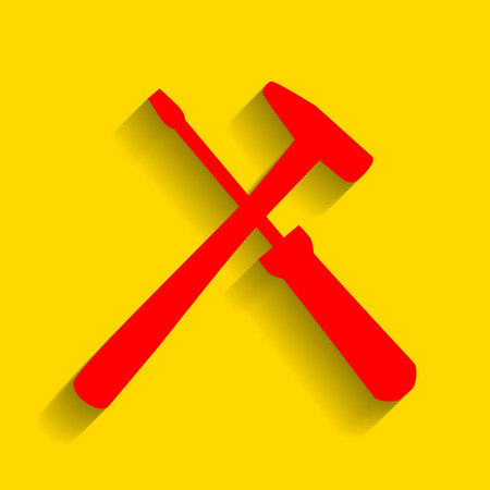Tools sign illustration. Vector. Red icon with soft shadow on golden background.