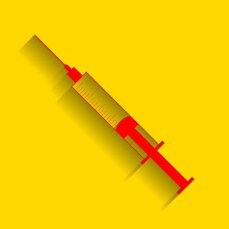 Syringe sign illustration. Vector. Red icon with soft shadow on golden background.