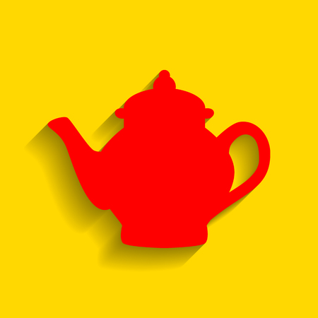 Tea maker sign. Vector. Red icon with soft shadow on golden background.