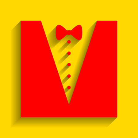 Tuxedo with bow silhouette. Vector. Red icon with soft shadow on golden background. Illustration