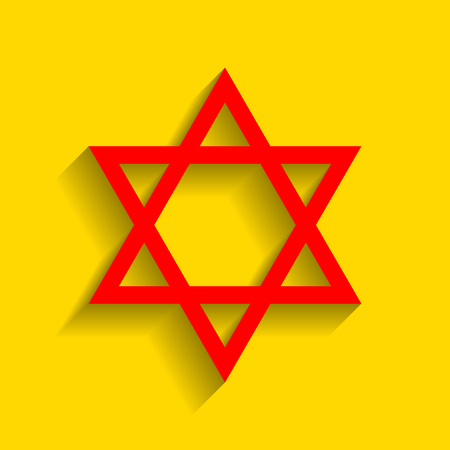 chanukkah: Shield Magen David Star. Symbol of Israel. Vector. Red icon with soft shadow on golden background.