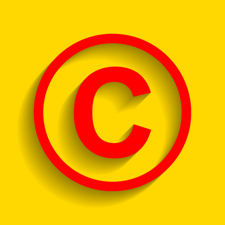 Copyright sign illustration. Vector. Red icon with soft shadow on golden background.