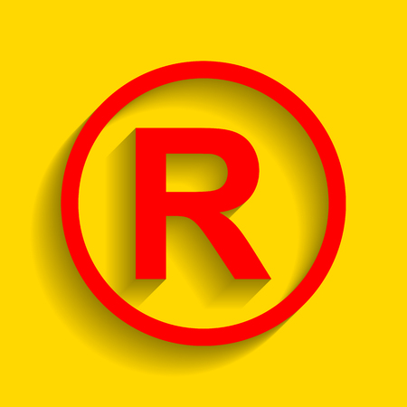 Registered Trademark sign. Vector. Red icon with soft shadow on golden background.