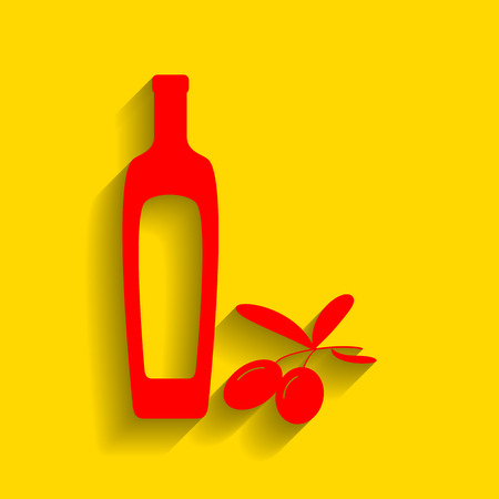 Black olives branch with olive oil bottle sign. Vector. Red icon with soft shadow on golden background.