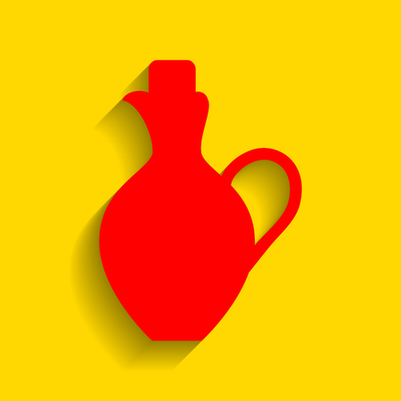 Amphora sign illustration. Vector. Red icon with soft shadow on golden background.
