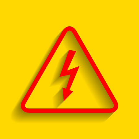 volte: High voltage danger sign. Vector. Red icon with soft shadow on golden background.
