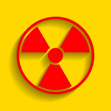 Radiation Round sign. Vector. Red icon with soft shadow on golden background. Illustration