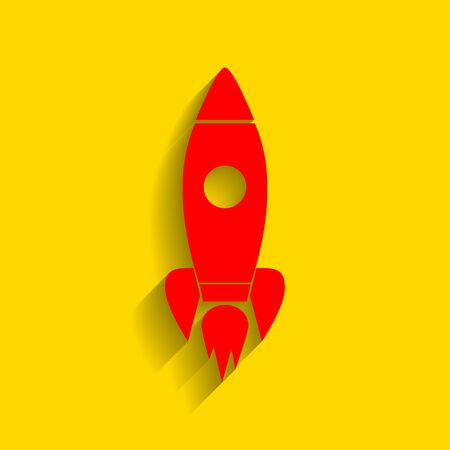 Rocket sign illustration. Vector. Red icon with soft shadow on golden background. Illustration