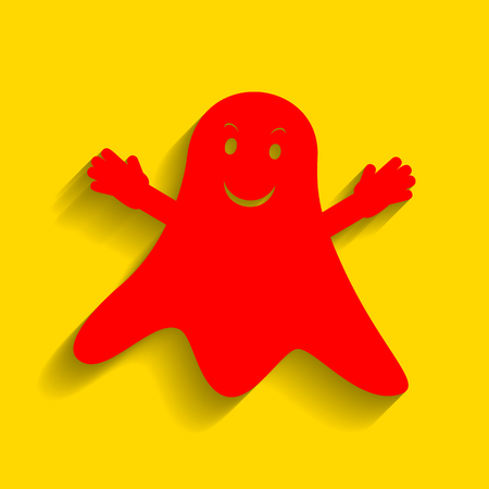 Ghost isolated sign. Vector. Red icon with soft shadow on golden background.