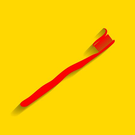 Toothbrush with applied toothpaste portion. Vector. Red icon with soft shadow on golden background.
