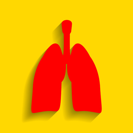 Human organs Lungs sign. Vector. Red icon with soft shadow on golden background. Illustration