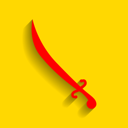 longsword: Sword sign illustration. Vector. Red icon with soft shadow on golden background.
