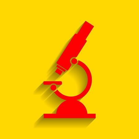 Chemistry microscope sign for laboratory. Vector. Red icon with soft shadow on golden background. Illustration