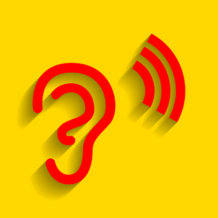 audible: Human ear sign. Vector. Red icon with soft shadow on golden background.