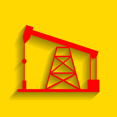 Oil drilling rig sign. Vector. Red icon with soft shadow on golden background.