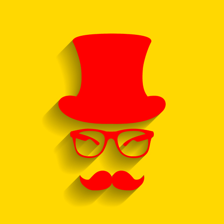 Hipster accessories design. Vector. Red icon with soft shadow on golden background.