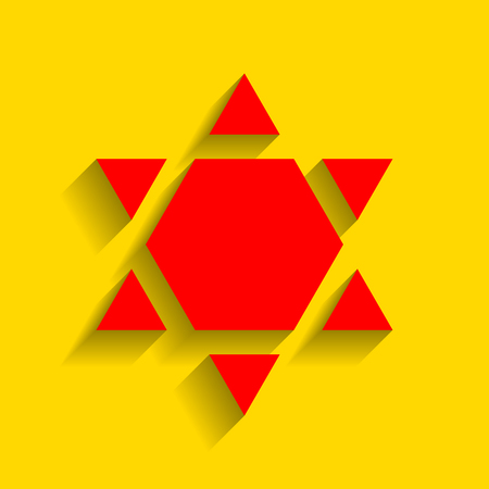inverse: Shield Magen David Star Inverse. Symbol of Israel inverted. Vector. Red icon with soft shadow on golden background.