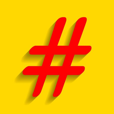 Hashtag sign illustration. Vector. Red icon with soft shadow on golden background. Illustration
