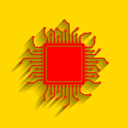 microcircuit: CPU Microprocessor illustration. Vector. Red icon with soft shadow on golden background.