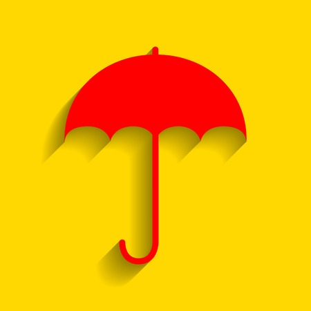 Umbrella sign icon. Rain protection symbol. Flat design style. Vector. Red icon with soft shadow on golden background. Illustration