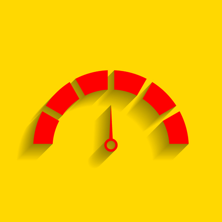 Speedometer sign illustration. Vector. Red icon with soft shadow on golden background.