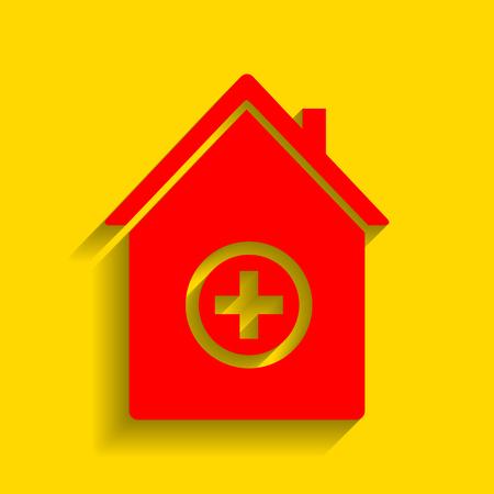 Ilustración de signo de hospital. Vector. Icono rojo con suave sombra sobre fondo dorado. Vectores