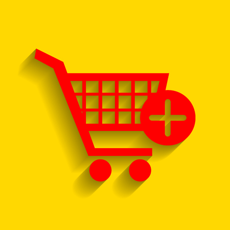 Shopping Cart with add Mark sign. Vector. Red icon with soft shadow on golden background.