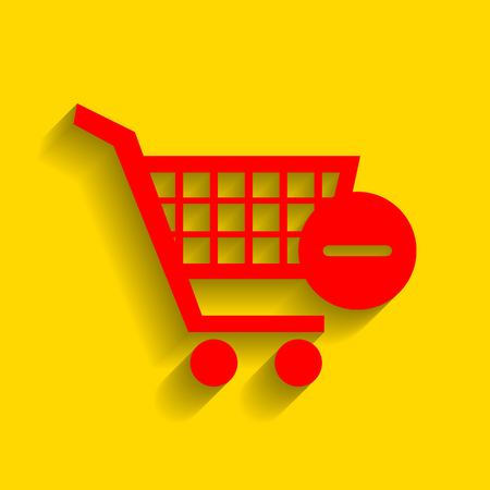 Vector Shopping Cart with Remove sign. Vector. Red icon with soft shadow on golden background. Illustration
