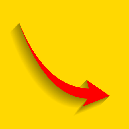 declining: Declining arrow sign. Vector. Red icon with soft shadow on golden background. Illustration
