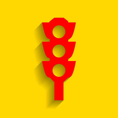 Traffic light sign. Vector. Red icon with soft shadow on golden background.