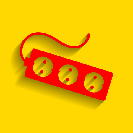 ac: Electric extension plug sign. Vector. Red icon with soft shadow on golden background. Illustration